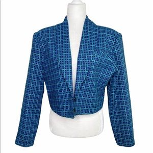 Vintage Cropped weave plaid print blazer